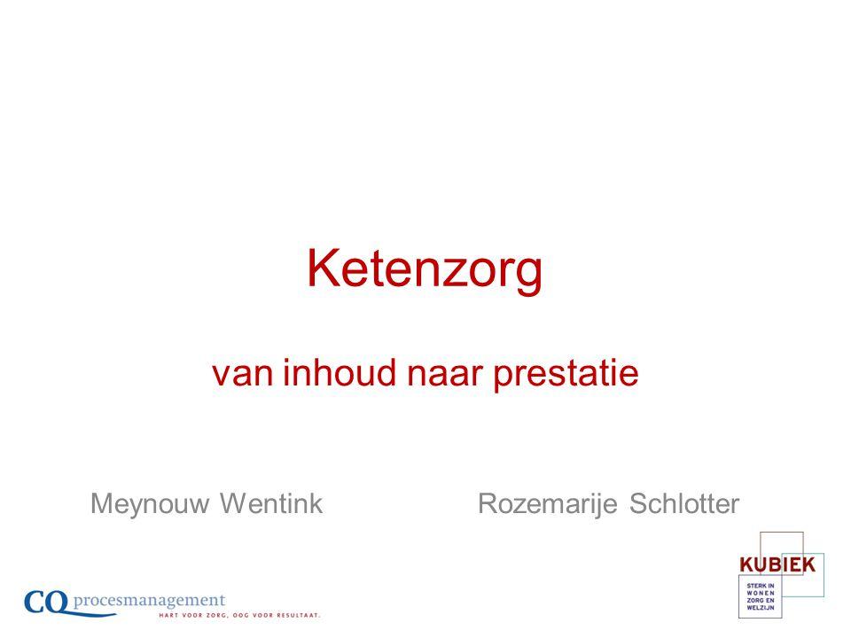 Ketenzorg van inhoud naar prestatie Meynouw Wentink Rozemarije Schlotter