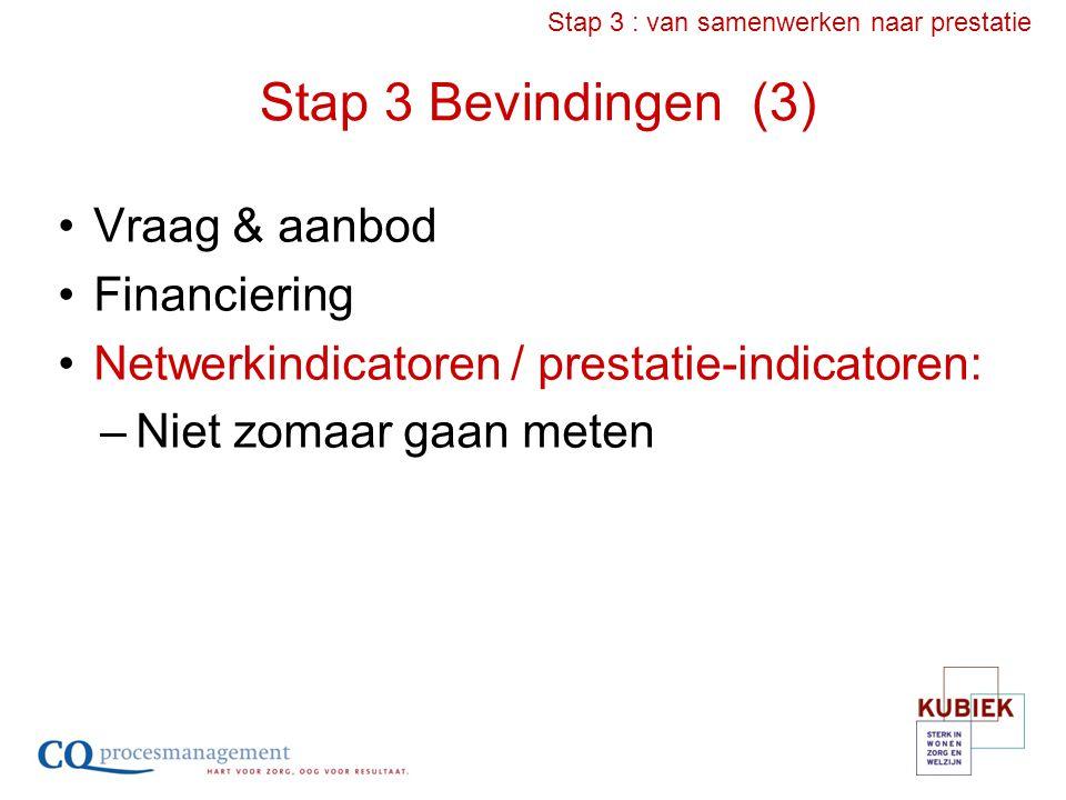 Stap 3 Bevindingen (3) Vraag & aanbod Financiering Netwerkindicatoren / prestatie-indicatoren: –Niet zomaar gaan meten Stap 3 : van samenwerken naar p
