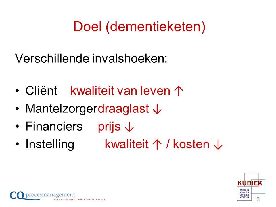 Stap 3 : van samenwerken naar prestatie Gezamenlijke keten dementie: Voorspellen toekomstige vraag & aanbod Afstemming financiering Afstemming netwerkindicatoren/prestaties
