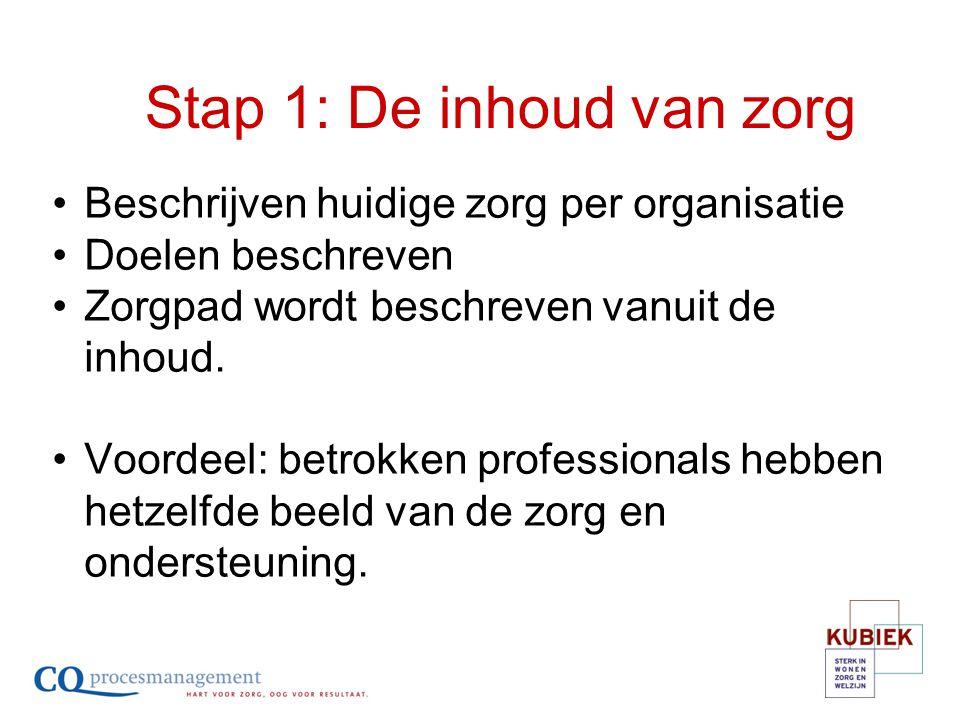 Beschrijven huidige zorg per organisatie Doelen beschreven Zorgpad wordt beschreven vanuit de inhoud. Voordeel: betrokken professionals hebben hetzelf