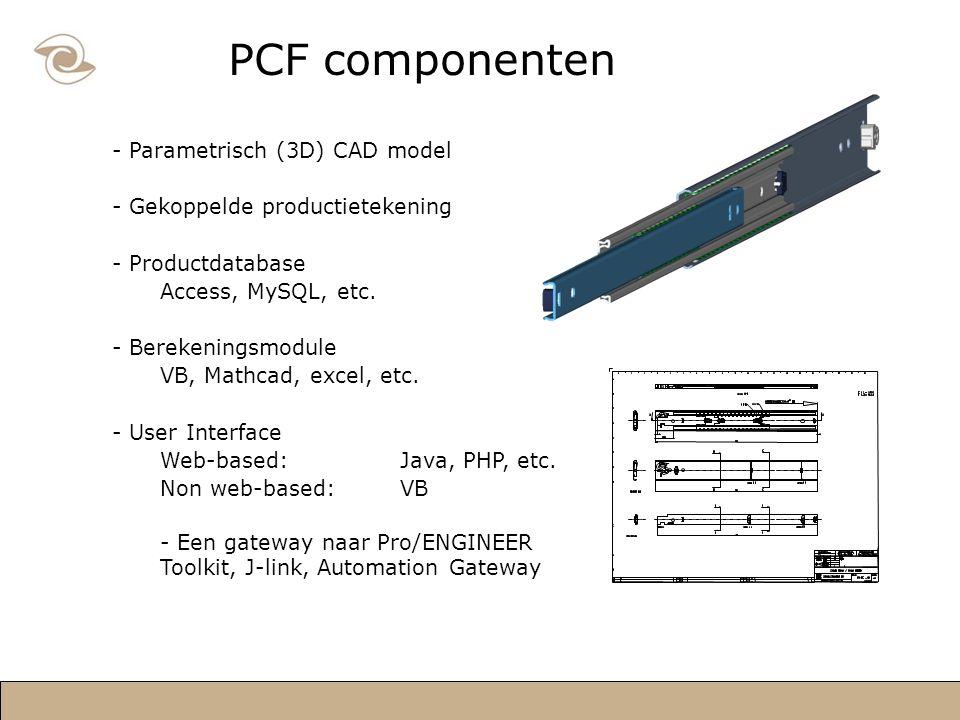 PCF componenten - Parametrisch (3D) CAD model - Gekoppelde productietekening - Productdatabase Access, MySQL, etc.