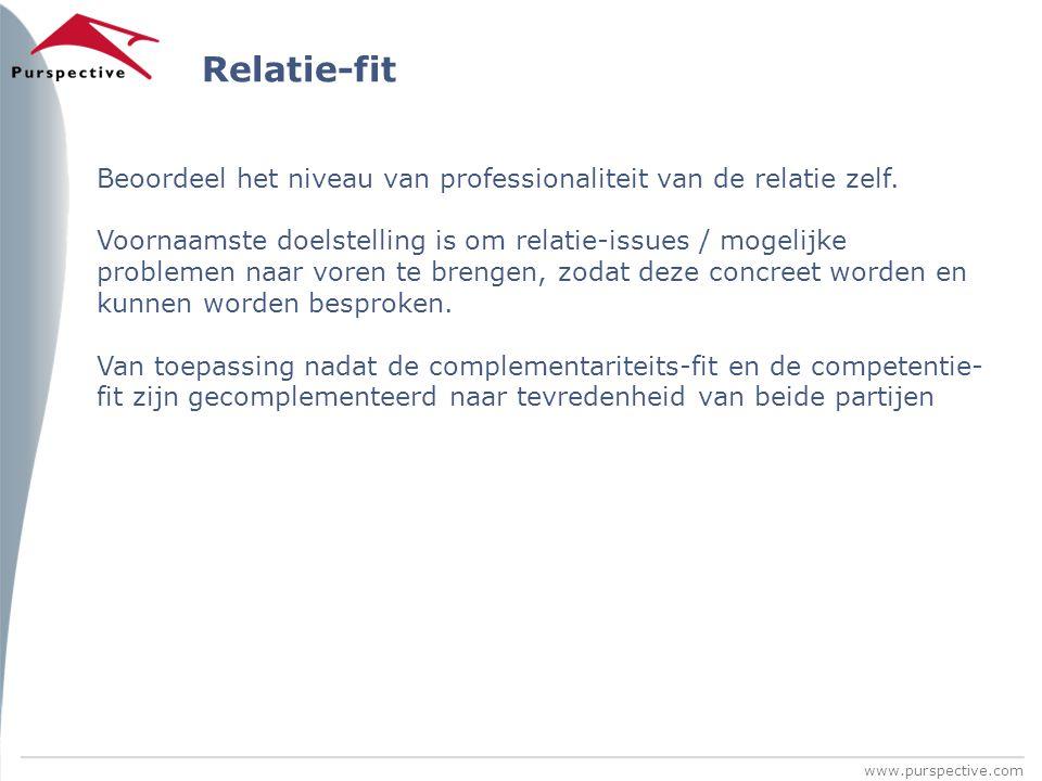 www.purspective.com Relatie-fit Beoordeel het niveau van professionaliteit van de relatie zelf. Voornaamste doelstelling is om relatie-issues / mogeli