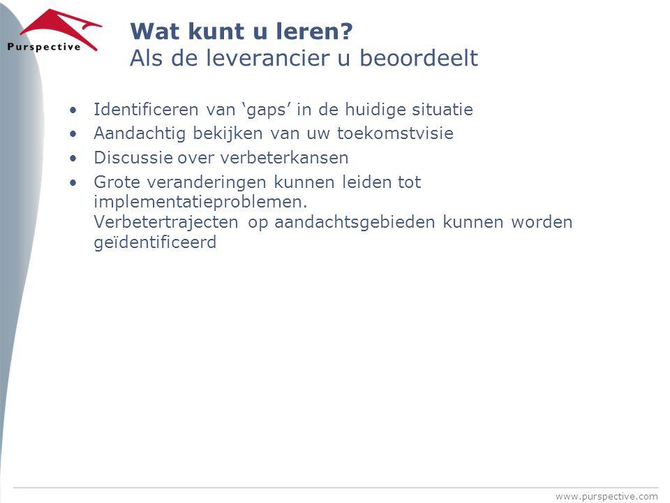 www.purspective.com Wat kunt u leren? Als de leverancier u beoordeelt Identificeren van 'gaps' in de huidige situatie Aandachtig bekijken van uw toeko