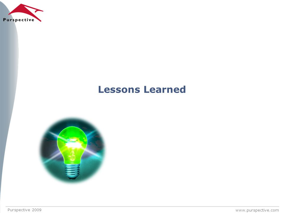 www.purspective.com Lessons Learned Purspective 2009