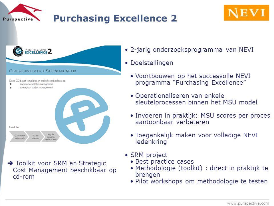 """www.purspective.com 2-jarig onderzoeksprogramma van NEVI Doelstellingen Voortbouwen op het succesvolle NEVI programma """"Purchasing Excellence"""" Operatio"""