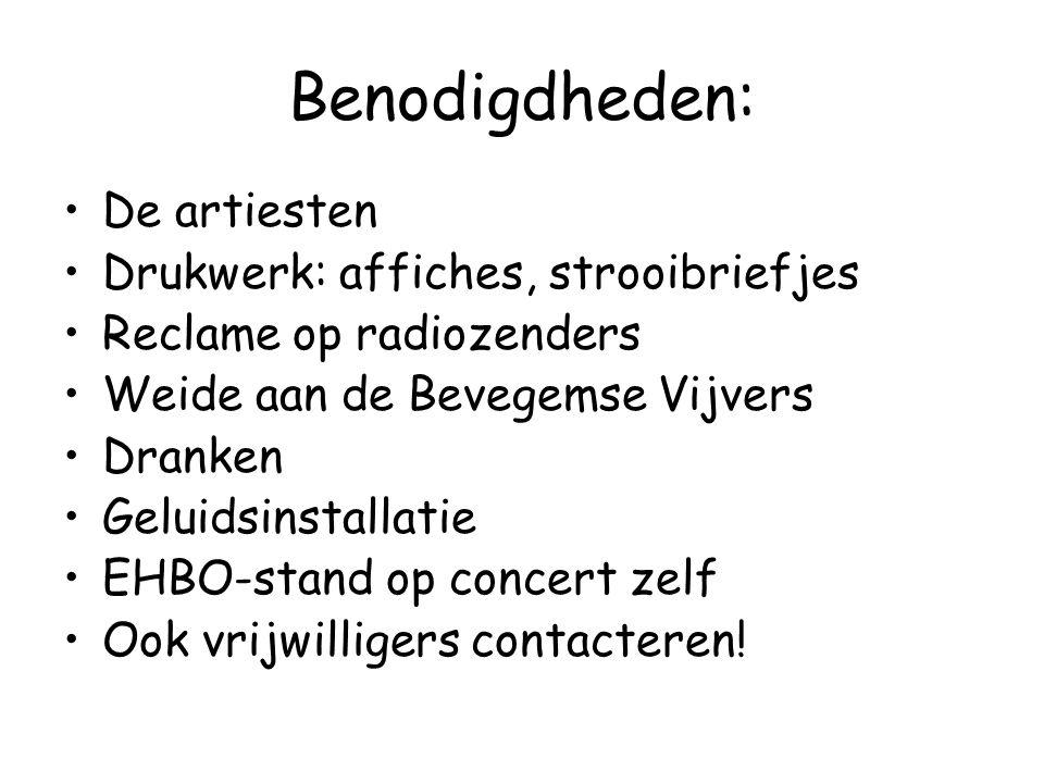 Benodigdheden: De artiesten Drukwerk: affiches, strooibriefjes Reclame op radiozenders Weide aan de Bevegemse Vijvers Dranken Geluidsinstallatie EHBO-stand op concert zelf Ook vrijwilligers contacteren!