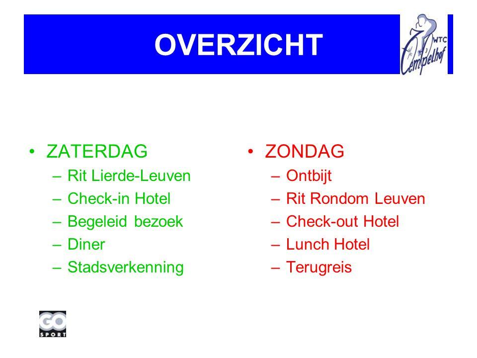 OVERZICHT ZATERDAG –Rit Lierde-Leuven –Check-in Hotel –Begeleid bezoek –Diner –Stadsverkenning ZONDAG –Ontbijt –Rit Rondom Leuven –Check-out Hotel –Lunch Hotel –Terugreis