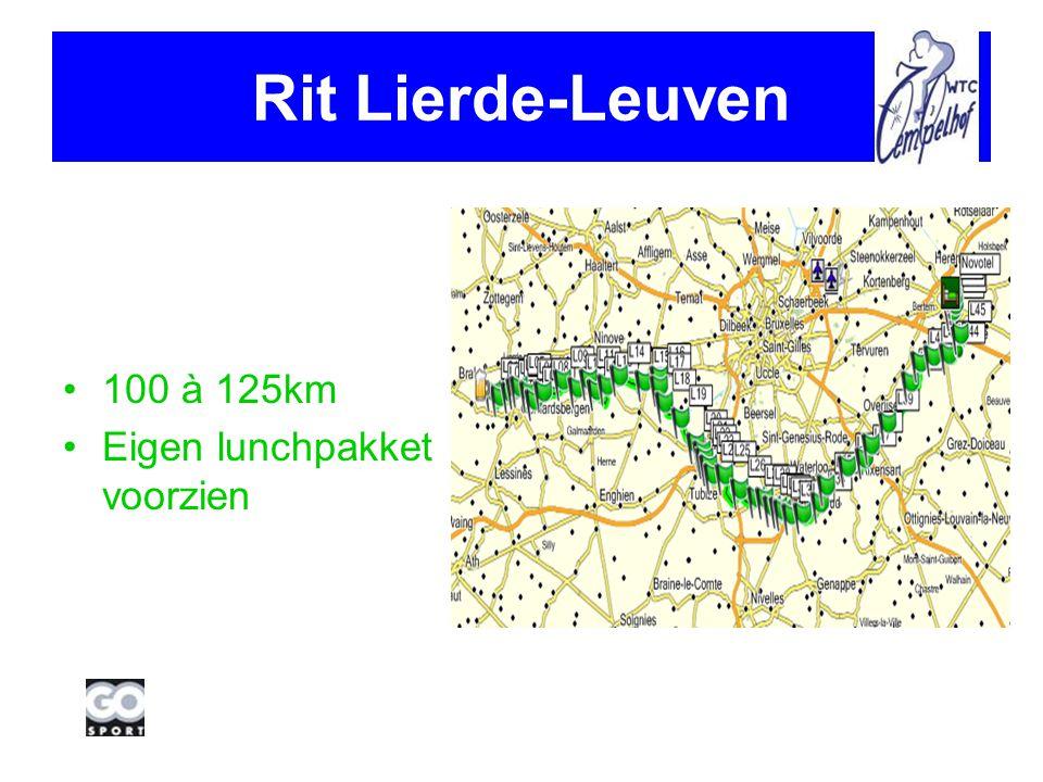 Rit Lierde-Leuven 100 à 125km Eigen lunchpakket voorzien