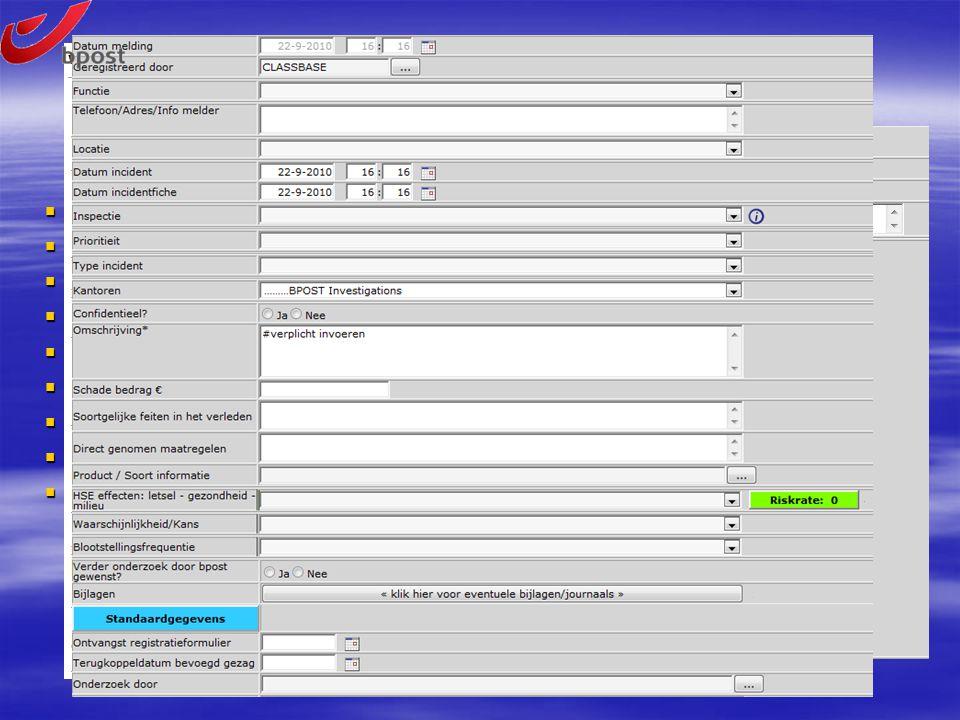 ClassBase – E-Forms  Elektronische meldingsformulieren, uniek per toegepaste discipline  Vrije velden, eigen veldlabels  Informatie naar behoefte,