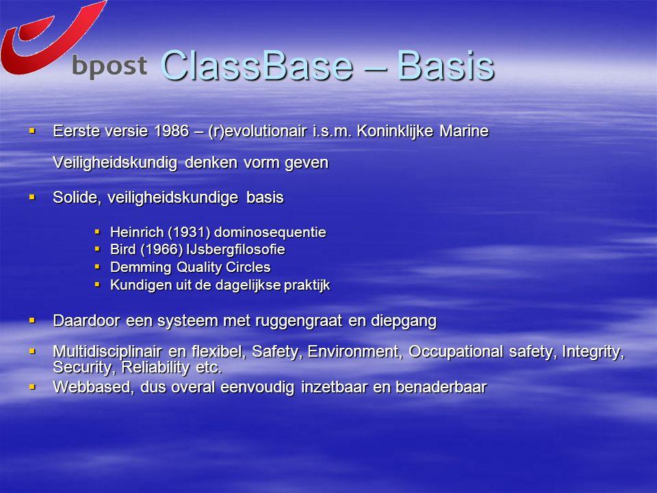 ClassBase – Basis  Eerste versie 1986 – (r)evolutionair i.s.m. Koninklijke Marine Veiligheidskundig denken vorm geven  Solide, veiligheidskundige ba