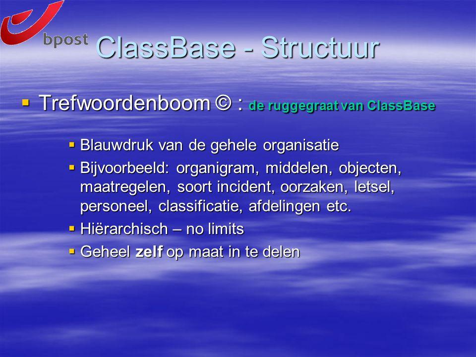ClassBase - Structuur  Trefwoordenboom © : de ruggegraat van ClassBase  Blauwdruk van de gehele organisatie  Bijvoorbeeld: organigram, middelen, objecten, maatregelen, soort incident, oorzaken, letsel, personeel, classificatie, afdelingen etc.