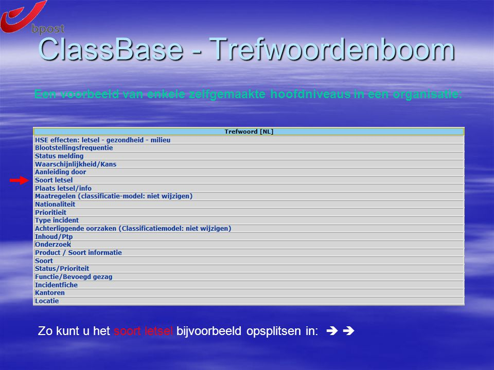 ClassBase - Trefwoordenboom Een voorbeeld van enkele zelfgemaakte hoofdniveaus in een organisatie: Zo kunt u het soort letsel bijvoorbeeld opsplitsen in:  