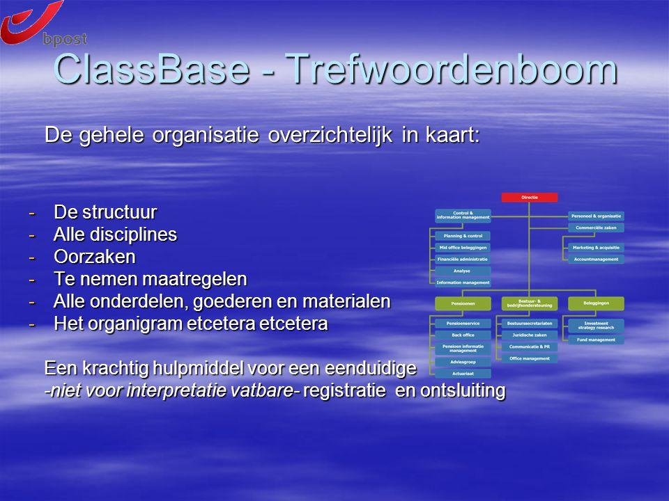 De gehele organisatie overzichtelijk in kaart: De gehele organisatie overzichtelijk in kaart: -De structuur -Alle disciplines -Oorzaken -Te nemen maatregelen -Alle onderdelen, goederen en materialen -Het organigram etcetera etcetera Een krachtig hulpmiddel voor een eenduidige Een krachtig hulpmiddel voor een eenduidige -niet voor interpretatie vatbare- registratie en ontsluiting -niet voor interpretatie vatbare- registratie en ontsluiting ClassBase - Trefwoordenboom