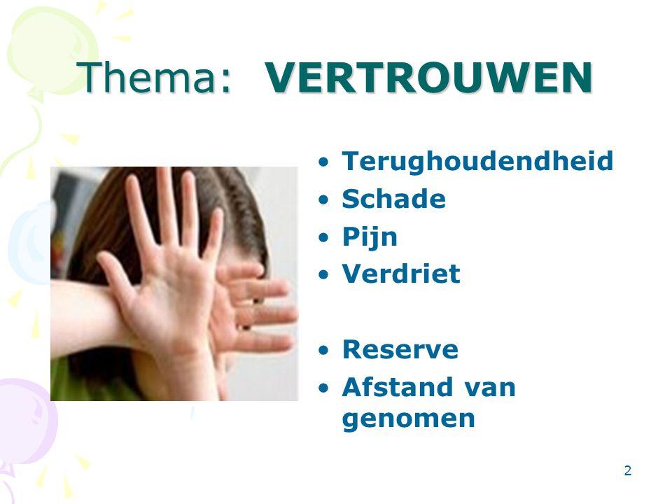 2 Thema: VERTROUWEN Terughoudendheid Schade Pijn Verdriet Reserve Afstand van genomen