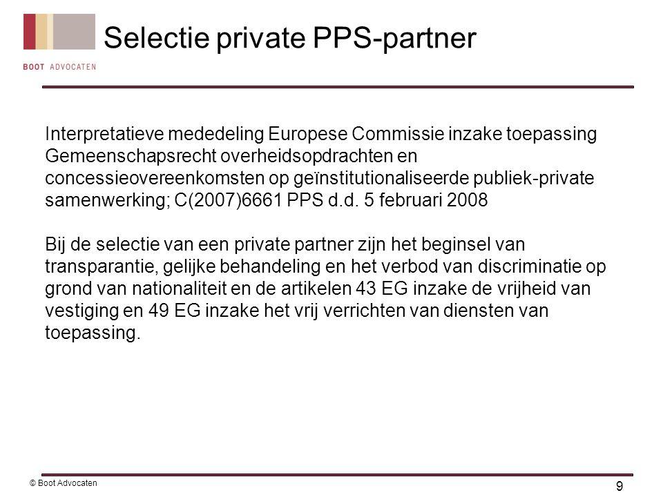 20 © Boot Advocaten Vrijgestelde staatssteun: de-minimissteun (€ 200.000/3 jrn, €100.000/1 jr) Algemene groepsvrijstellingsverordening voor MKB steun in verband met investeringen, werkgelegenheid, onderzoek, ontwikkeling (duurzaamheid) Goedgekeurde steun: Regionale projectsteun Marktpassageplan Haaksbergen (EC beschikking C33/2005, 4 april 2006) Toegestane staatssteun