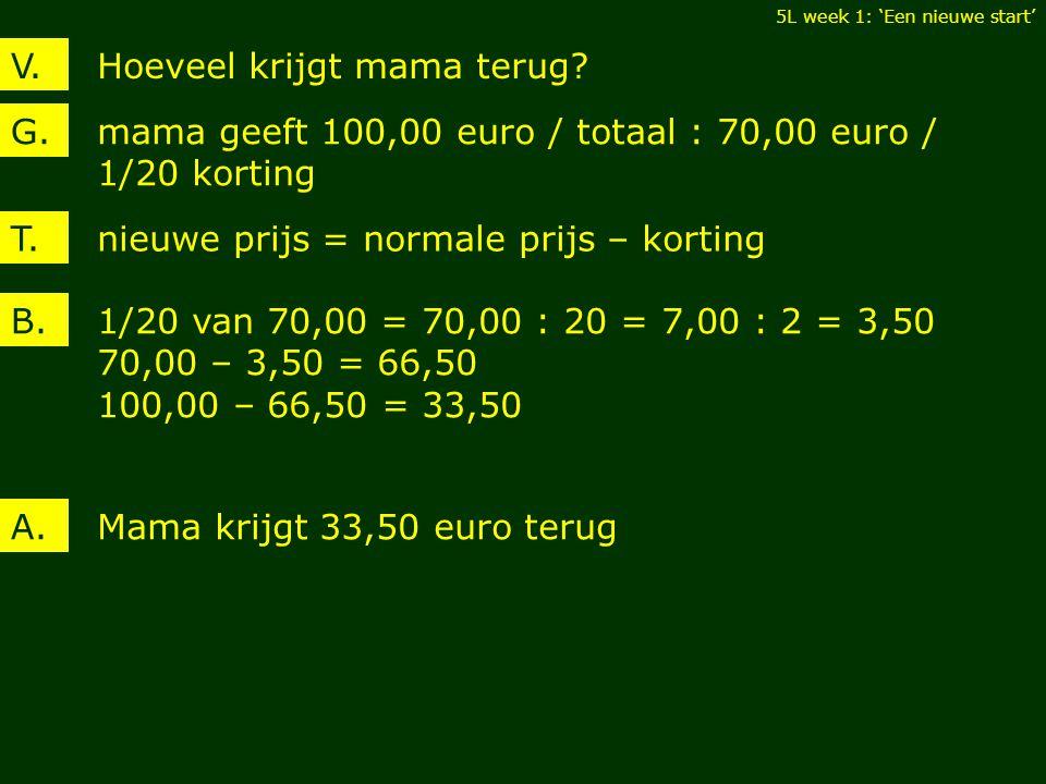 Hoeveel krijgt mama terug?V. mama geeft 100,00 euro / totaal : 70,00 euro / 1/20 korting G. 1/20 van 70,00 = 70,00 : 20 = 7,00 : 2 = 3,50 70,00 – 3,50