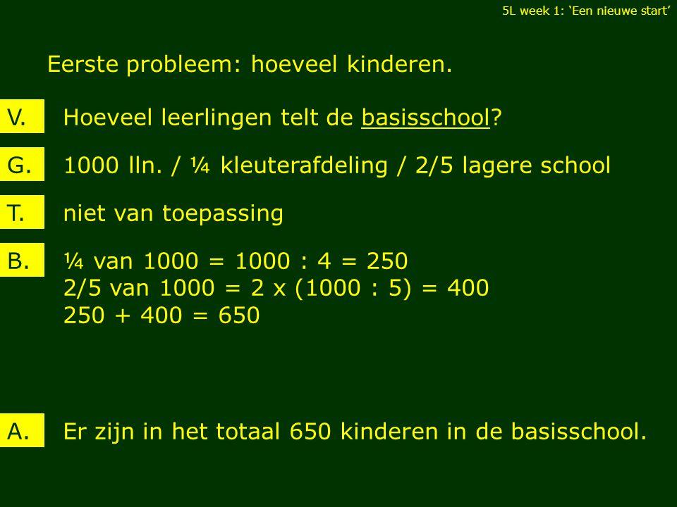 Eerste probleem: hoeveel kinderen. 5L week 1: 'Een nieuwe start' Hoeveel leerlingen telt de basisschool?V. 1000 lln. / ¼ kleuterafdeling / 2/5 lagere