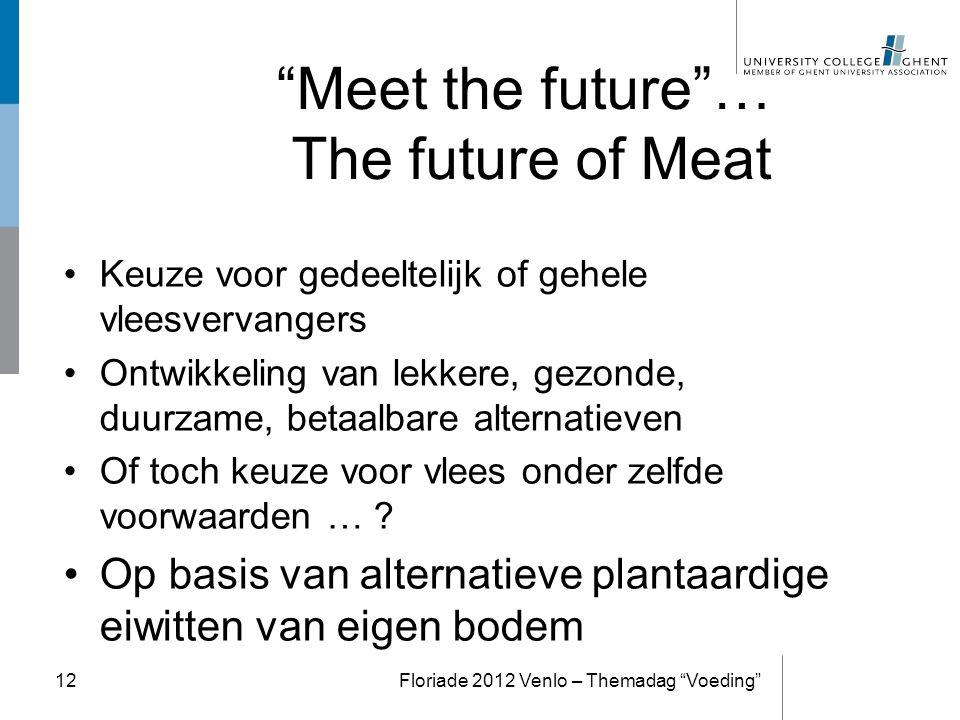 """""""Meet the future""""… The future of Meat Keuze voor gedeeltelijk of gehele vleesvervangers Ontwikkeling van lekkere, gezonde, duurzame, betaalbare altern"""