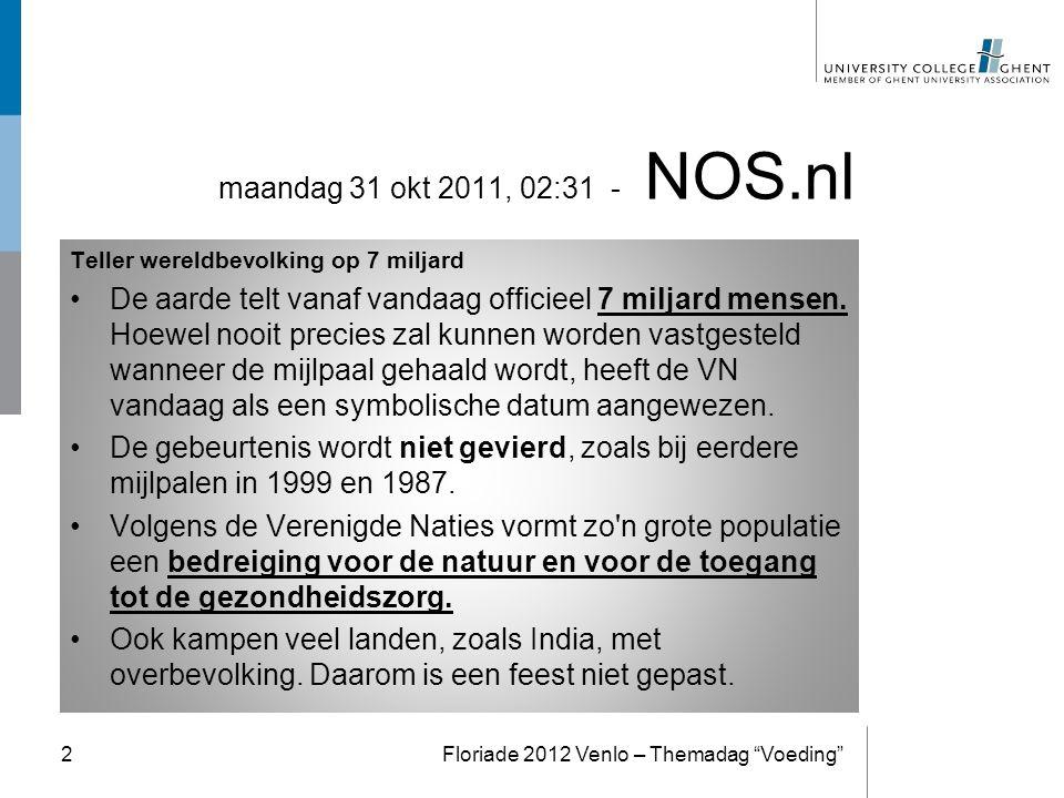 Op zoek naar alternatieven Re-Design the Food Chain Floriade 2012 Venlo – Themadag Voeding 13