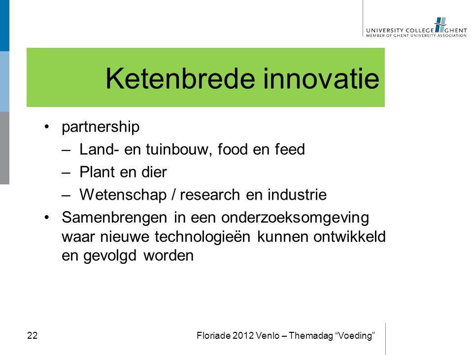 Ketenbrede innovatie partnership –Land- en tuinbouw, food en feed –Plant en dier –Wetenschap / research en industrie Samenbrengen in een onderzoeksomg