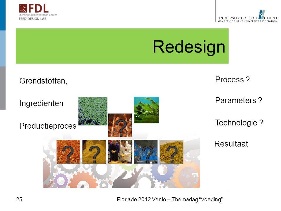 """Redesign Floriade 2012 Venlo – Themadag """"Voeding""""25 Process ? Parameters ? Technologie ? Resultaat """"Duck Weed"""" Algea Grondstoffen, Ingredienten Produc"""