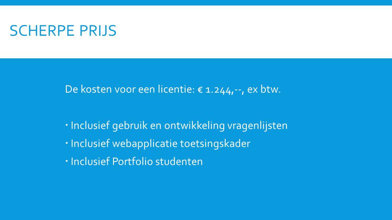 SCHERPE PRIJS De kosten voor een licentie: € 1.244,--, ex btw.