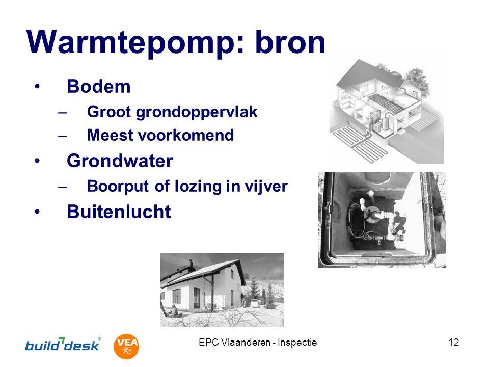 EPC Vlaanderen - Inspectie12 Warmtepomp: bron Bodem –Groot grondoppervlak –Meest voorkomend Grondwater –Boorput of lozing in vijver Buitenlucht