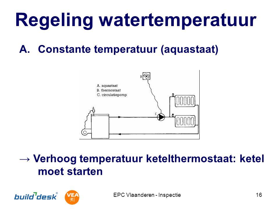 EPC Vlaanderen - Inspectie16 Regeling watertemperatuur A.Constante temperatuur (aquastaat) → Verhoog temperatuur ketelthermostaat: ketel moet starten