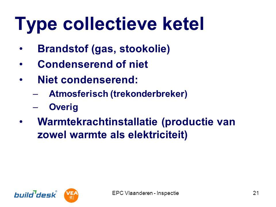 EPC Vlaanderen - Inspectie21 Type collectieve ketel Brandstof (gas, stookolie) Condenserend of niet Niet condenserend: –Atmosferisch (trekonderbreker) –Overig Warmtekrachtinstallatie (productie van zowel warmte als elektriciteit)