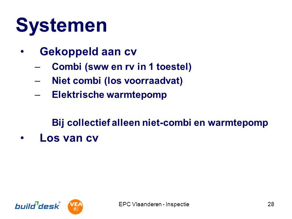 EPC Vlaanderen - Inspectie28 Systemen Gekoppeld aan cv –Combi (sww en rv in 1 toestel) –Niet combi (los voorraadvat) –Elektrische warmtepomp Bij collectief alleen niet-combi en warmtepomp Los van cv