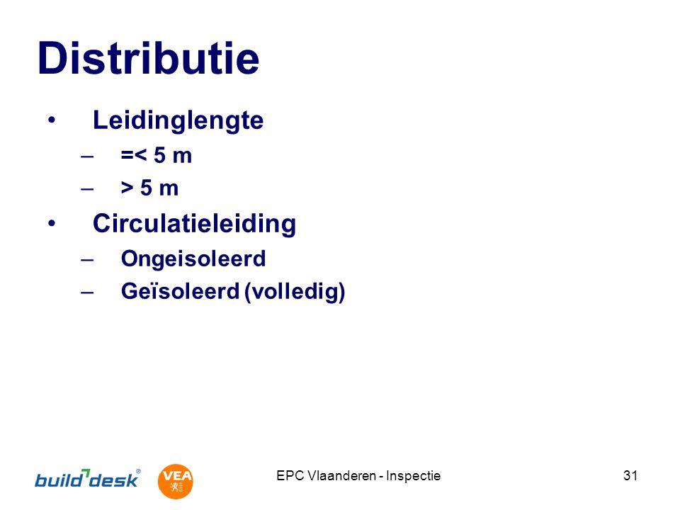EPC Vlaanderen - Inspectie31 Distributie Leidinglengte –=< 5 m –> 5 m Circulatieleiding –Ongeisoleerd –Geïsoleerd (volledig)