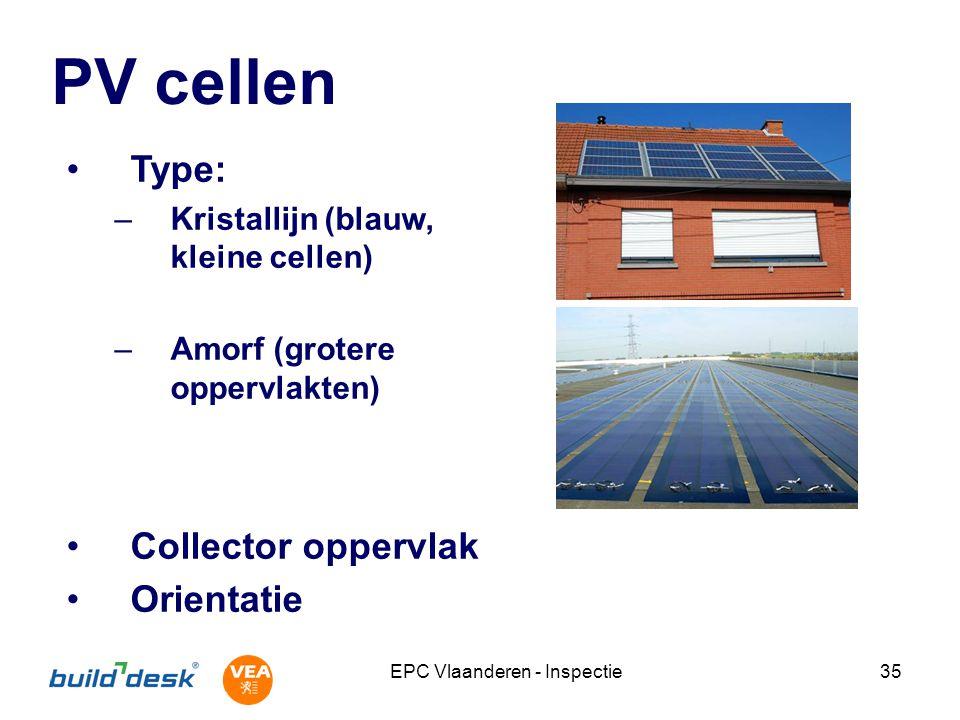 EPC Vlaanderen - Inspectie35 PV cellen Type: –Kristallijn (blauw, kleine cellen) –Amorf (grotere oppervlakten) Collector oppervlak Orientatie