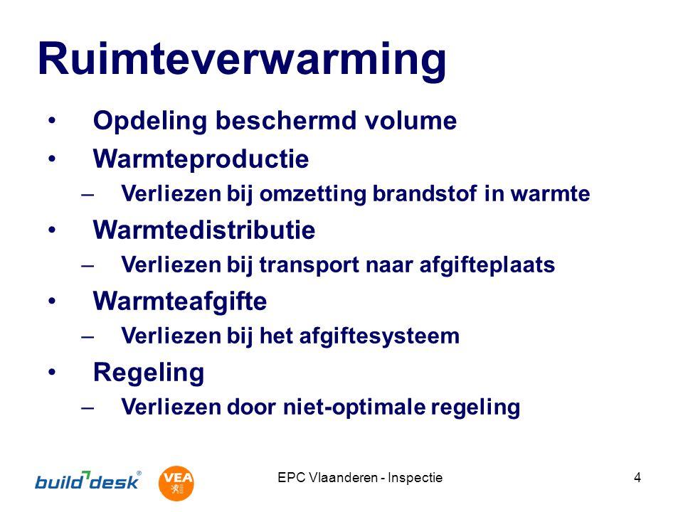 EPC Vlaanderen - Inspectie4 Ruimteverwarming Opdeling beschermd volume Warmteproductie –Verliezen bij omzetting brandstof in warmte Warmtedistributie –Verliezen bij transport naar afgifteplaats Warmteafgifte –Verliezen bij het afgiftesysteem Regeling –Verliezen door niet-optimale regeling