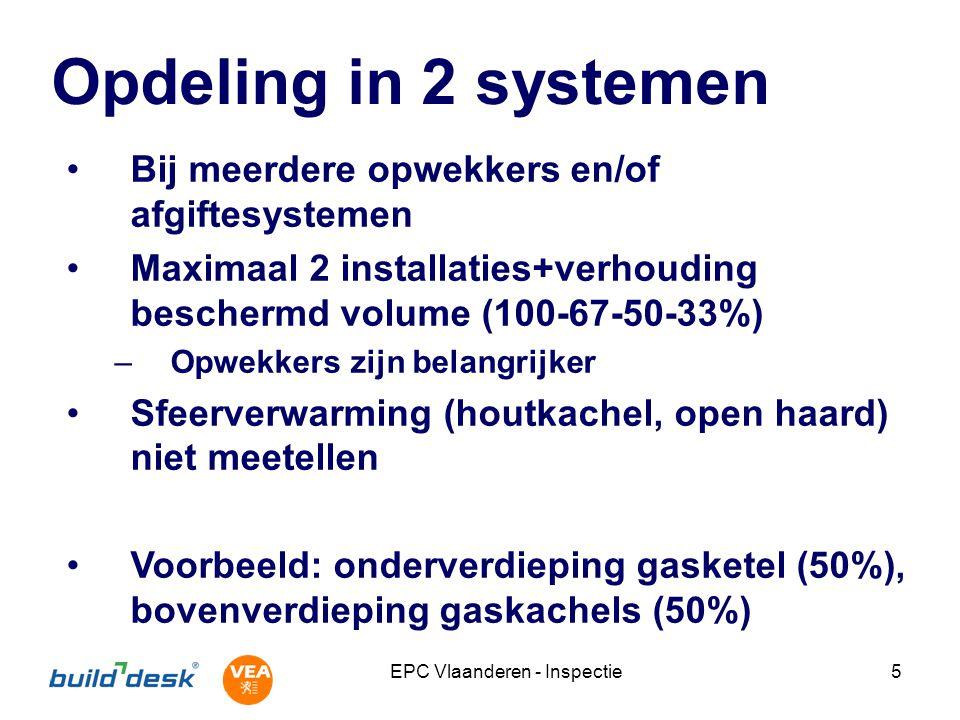 EPC Vlaanderen - Inspectie26 Hulpenergie CV-pomp regeling: pomp gaat uit (enige tijd) nadat de ketel uitgegaan is –Aanwezig –Afwezig –Onbekend → Warmtevraag stoppen en kijken of pomp stil valt Denk om nadraaitijd (tot half uur).
