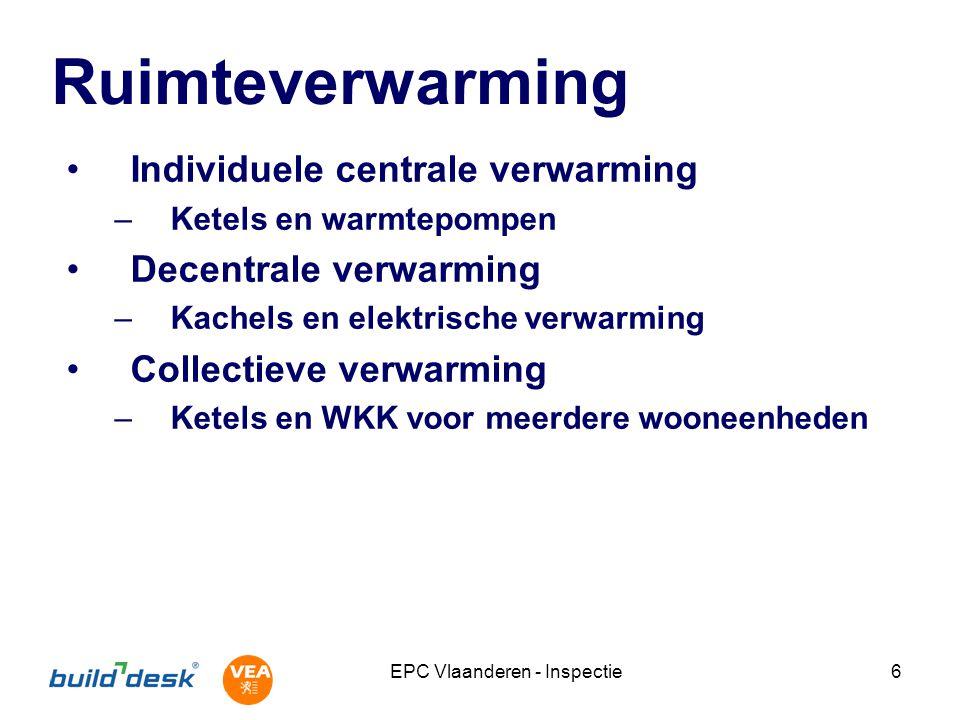 EPC Vlaanderen - Inspectie27 Sanitair warm water Individueel en collectief Productie en opslag –Systemen en opwekking Distributie