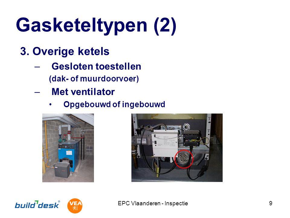 EPC Vlaanderen - Inspectie20 Warmteproductie collectief Type ketel Aantal ketels (1 of meer) Fabricagedatum Regeling watertemperatuur –Alleen bij 1 ketel –Constante of glijdende temperatuur Aantal wooneenheden –1-15, 16-50, >50