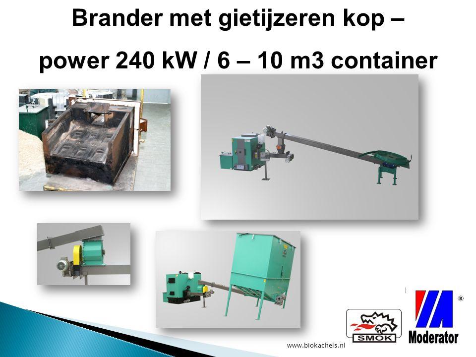 www.biokachels.nl Brander met gietijzeren kop – power 240 kW / 6 – 10 m3 container