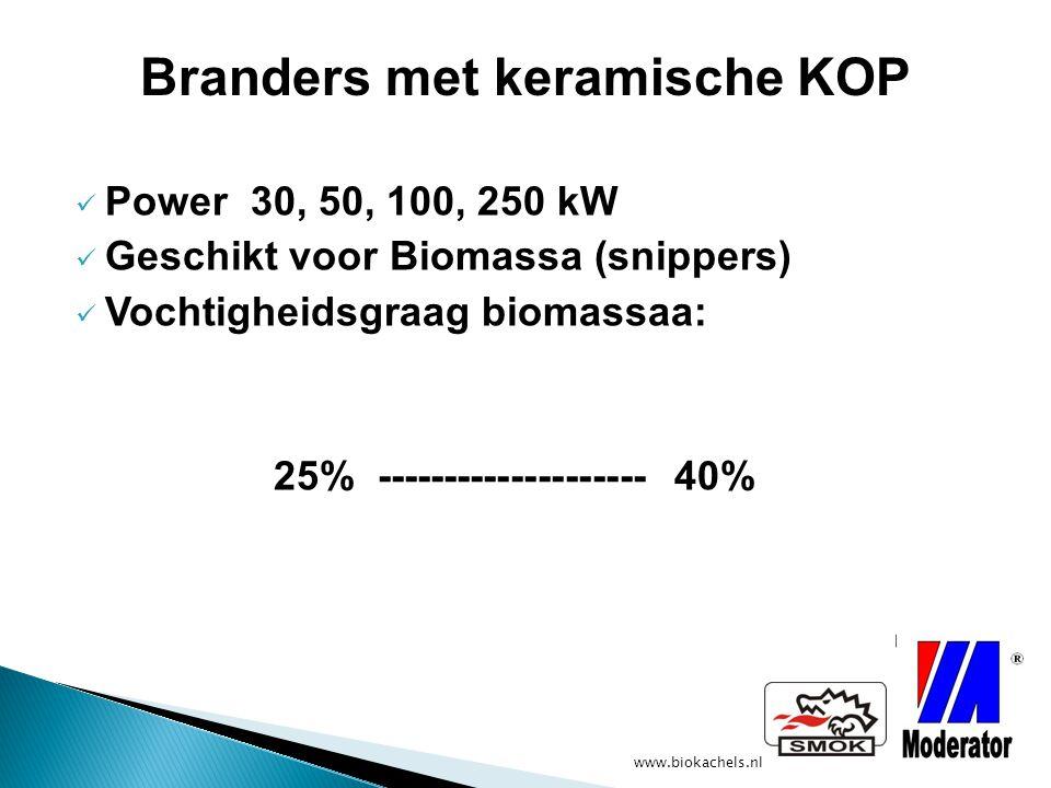 www.biokachels.nl Power 30, 50, 100, 250 kW Geschikt voor Biomassa (snippers) Vochtigheidsgraag biomassaa: 25% -------------------- 40% Branders met k