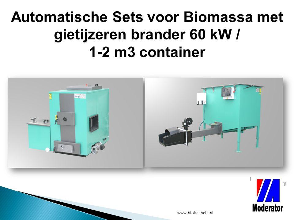 www.biokachels.nl Automatische Sets voor Biomassa met gietijzeren brander 60 kW / 1-2 m3 container