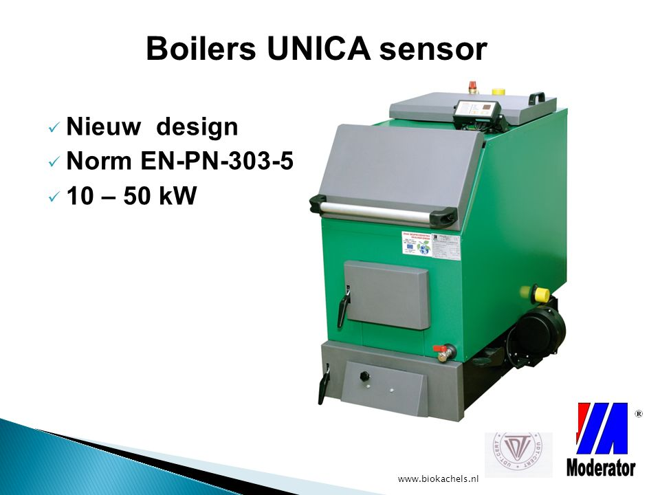 www.biokachels.nl Automatische Sets voor Biomassa met keramische brander 50 kW / 1-2 m3 container