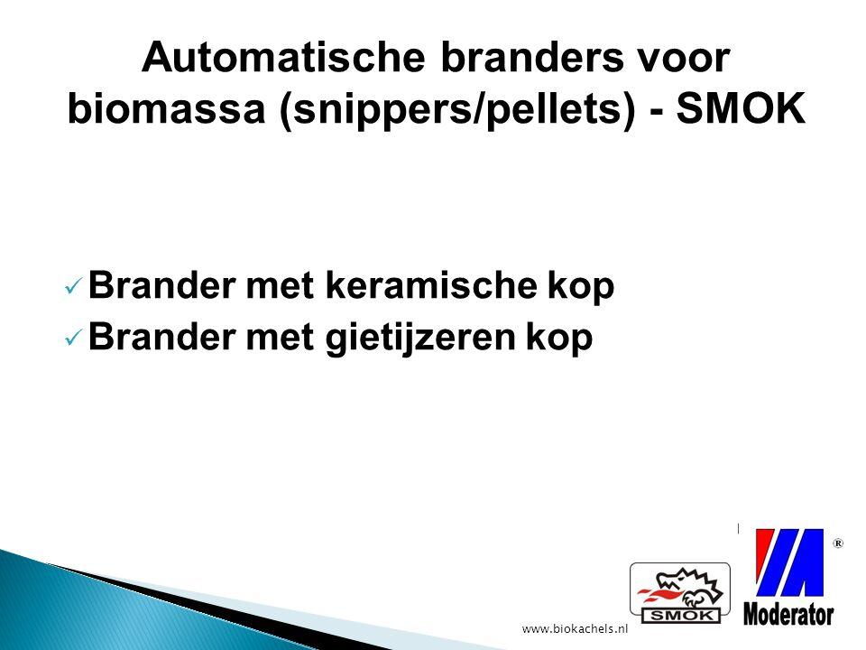 www.biokachels.nl Power: 30, 40, 60, 120, 240 kW Geschikt voor houtsnippers/pellets/Graan Vochtigheidsgraad biomassa: 1% ------------------- 25% Brander met gietijzeren kop