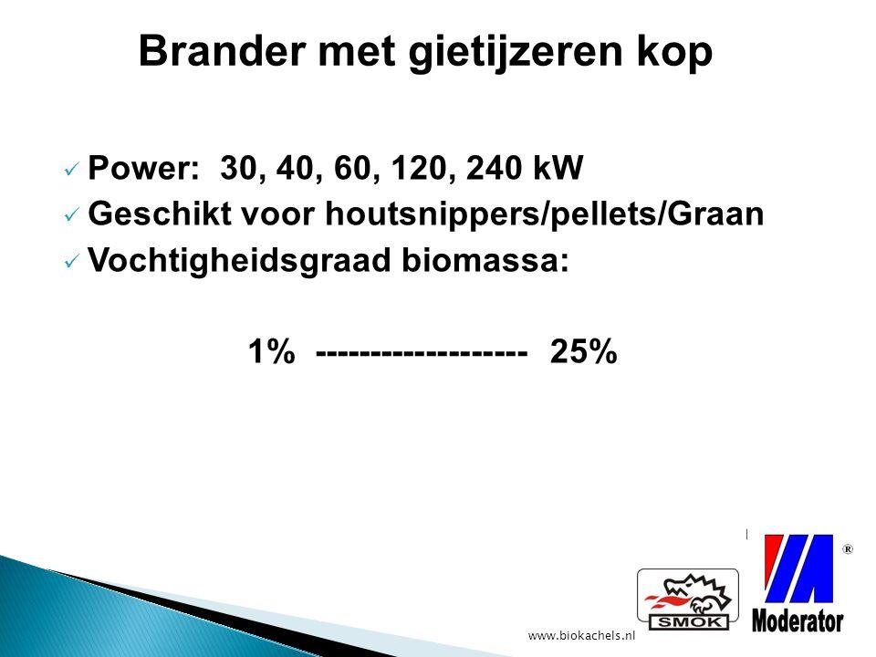 www.biokachels.nl Power: 30, 40, 60, 120, 240 kW Geschikt voor houtsnippers/pellets/Graan Vochtigheidsgraad biomassa: 1% ------------------- 25% Brand