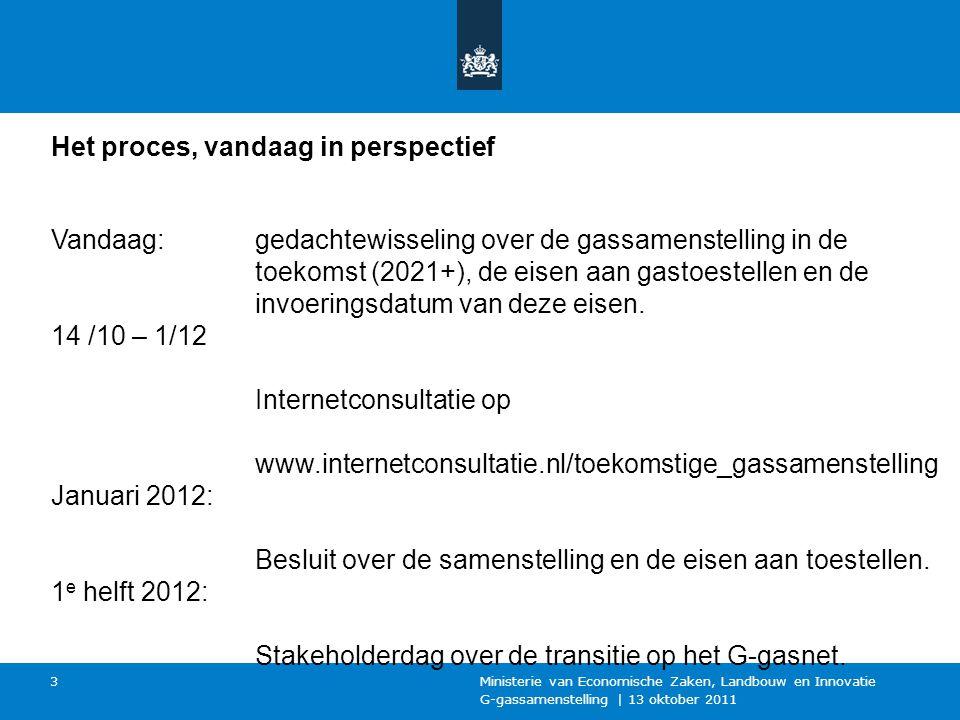 G-gassamenstelling | 13 oktober 2011 Ministerie van Economische Zaken, Landbouw en Innovatie 3 Het proces, vandaag in perspectief Vandaag: 14 /10 – 1/12 Januari 2012: 1 e helft 2012: gedachtewisseling over de gassamenstelling in de toekomst (2021+), de eisen aan gastoestellen en de invoeringsdatum van deze eisen.