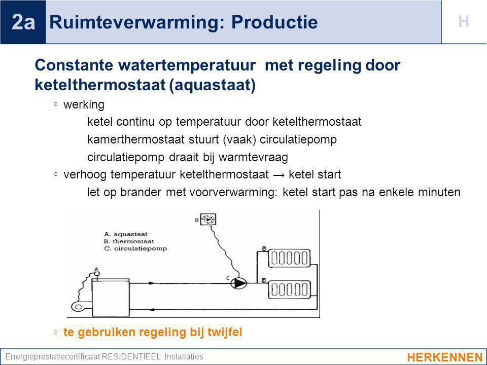Energieprestatiecertificaat RESIDENTIEEL: Installaties Ruimteverwarming: Productie Constante watertemperatuur met regeling door ketelthermostaat (aqua