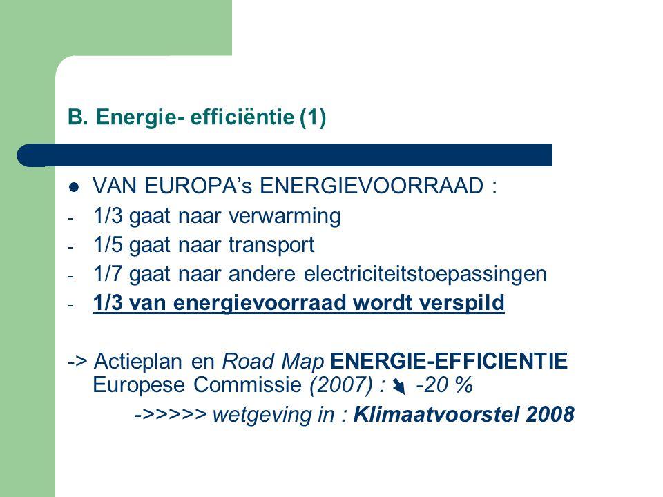 B. Energie- efficiëntie (1) VAN EUROPA's ENERGIEVOORRAAD : - 1/3 gaat naar verwarming - 1/5 gaat naar transport - 1/7 gaat naar andere electriciteitst