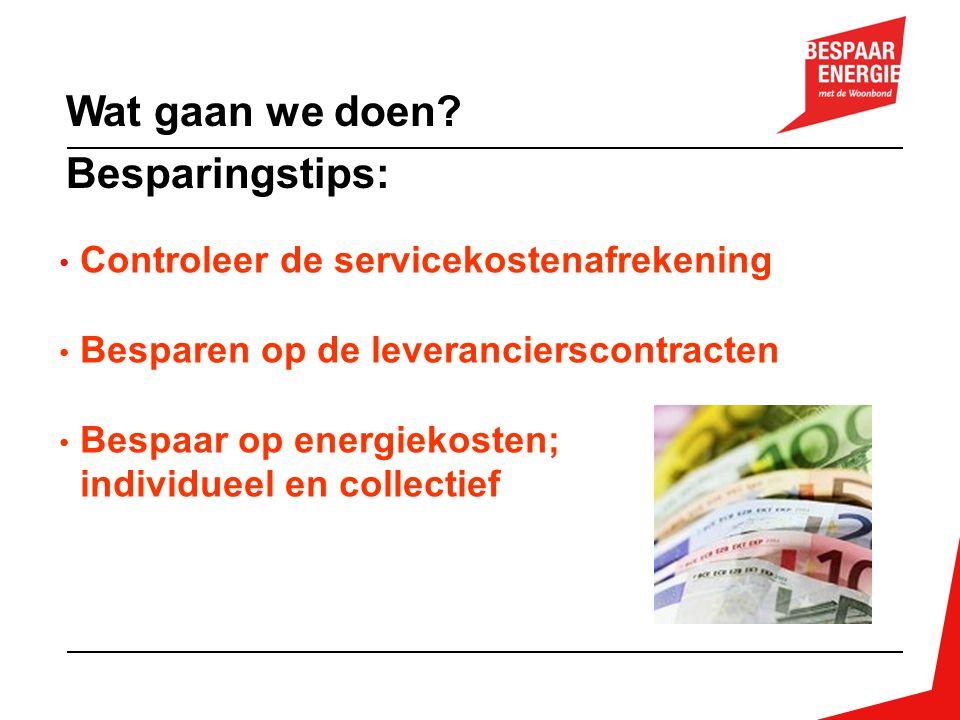 Voorbeeld 4: Verlichting Wat: verlichting 300 individuele kelderboxen, complex Nieuwendam Noord, Stadgenoot, verrekening via servicekosten Actie: gloeilampen vervangen door spaarlampen Investering: € 2.400,= excl.
