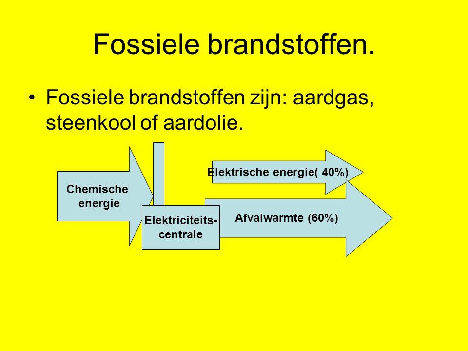 Fossiele brandstoffen. Fossiele brandstoffen zijn: aardgas, steenkool of aardolie. Chemische energie Elektrische energie( 40%) Afvalwarmte (60%) Elekt