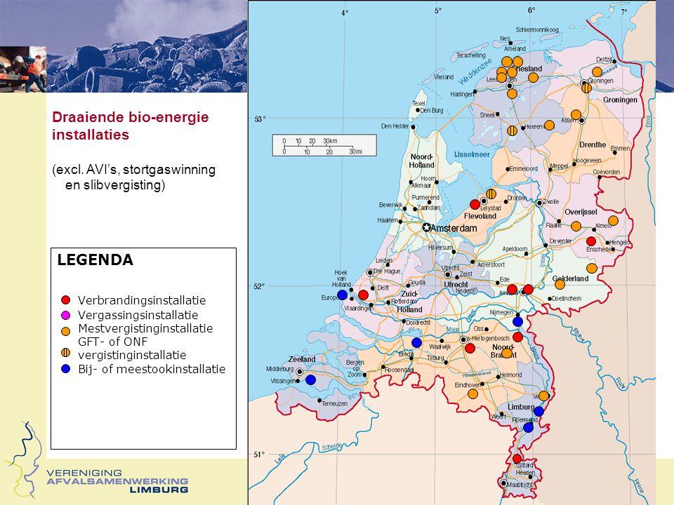 LEGENDA Verbrandingsinstallatie Vergassingsinstallatie Mest-, GFT- of ONF vergistinginstallatie > 10 kton / jaar idem  10 kton/jaar Initiatieven tot bio-energie installaties november 2004) (excl.