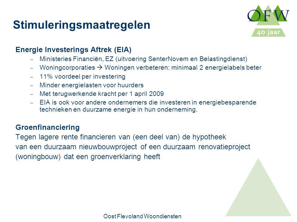Oost Flevoland Woondiensten Stimuleringsmaatregelen Energie Investerings Aftrek (EIA) – Ministeries Financiën, EZ (uitvoering SenterNovem en Belastingdienst) – Woningcorporaties  Woningen verbeteren: minimaal 2 energielabels beter – 11% voordeel per investering – Minder energielasten voor huurders – Met terugwerkende kracht per 1 april 2009 – EIA is ook voor andere ondernemers die investeren in energiebesparende technieken en duurzame energie in hun onderneming.