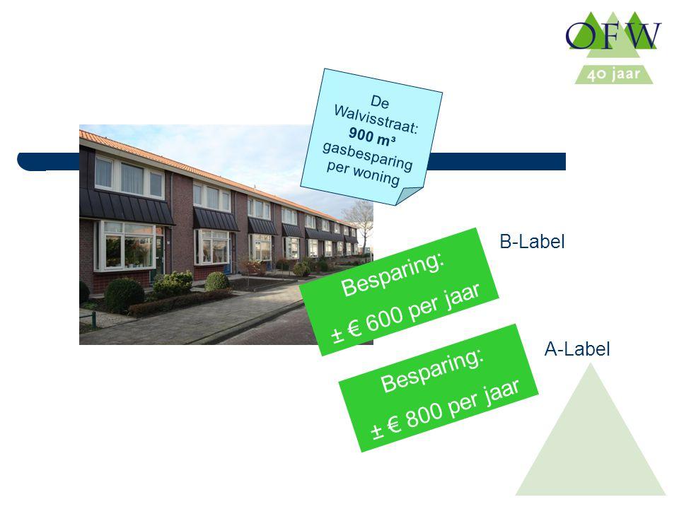 De Walvisstraat: 900 m³ gasbesparing per woning Besparing: ± € 600 per jaar Besparing: ± € 800 per jaar B-Label A-Label